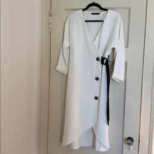 Zara black and white belted dress